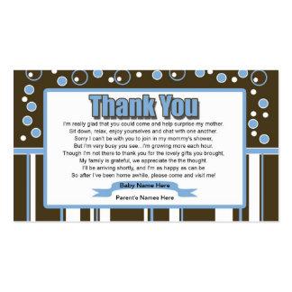 Fiesta de bienvenida al bebé del azul del metro tarjetas de visita