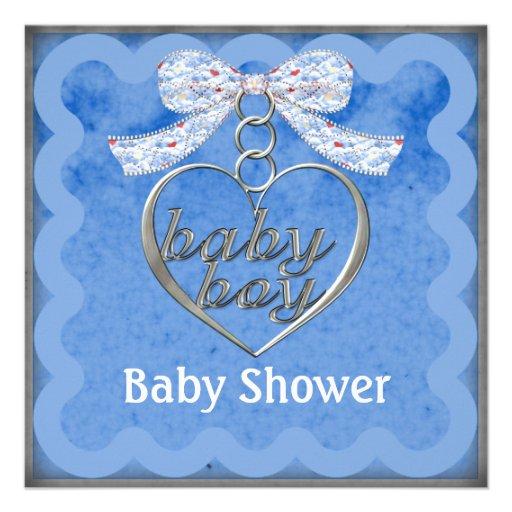 Fiesta de bienvenida al bebé del azul del muchacho comunicados personalizados