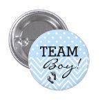 Fiesta de bienvenida al bebé del azul del muchacho pin redondo de 1 pulgada