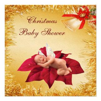 Fiesta de bienvenida al bebé del bebé, del Poinset Invitaciones Personalizada