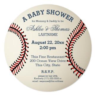 """Fiesta de bienvenida al bebé del béisbol invitación 5.25"""" x 5.25"""""""