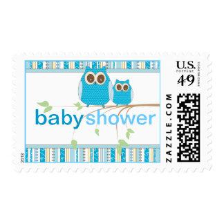 Fiesta de bienvenida al bebé del búho en azul estampillas