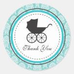 Fiesta de bienvenida al bebé del carro de bebé del pegatina redonda