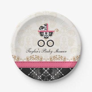 Fiesta de bienvenida al bebé del carro del damasco platos de papel