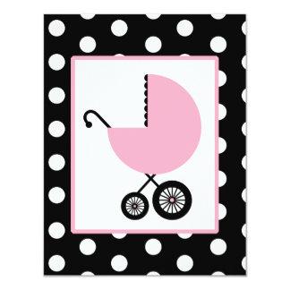 """Fiesta de bienvenida al bebé del chica - carro y invitación 4.25"""" x 5.5"""""""