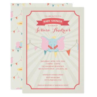 """Fiesta de bienvenida al bebé del chica de Dumbo el Invitación 5"""" X 7"""""""