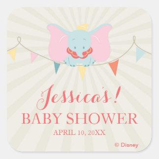 Fiesta de bienvenida al bebé del chica de Dumbo el Pegatina Cuadrada
