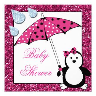 Fiesta de bienvenida al bebé del chica del pingüin invitacion personalizada