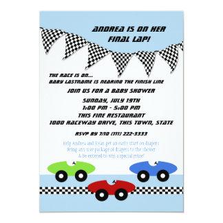 """Fiesta de bienvenida al bebé del coche de carreras invitación 5"""" x 7"""""""