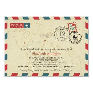 Fiesta de bienvenida al bebé del correo aéreo el | invitación 12,7 x 17,8 cm
