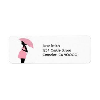 Fiesta de bienvenida al bebé del diseñador [rosa] etiqueta de remite