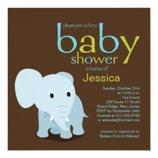 Fiesta de bienvenida al bebé del elefante invitación 13,3 cm x 13,3cm