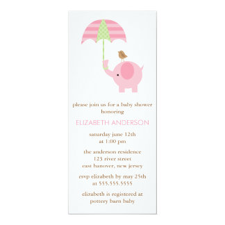 """Fiesta de bienvenida al bebé del elefante rosado invitación 4"""" x 9.25"""""""