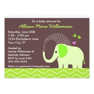 """Fiesta de bienvenida al bebé del elefante y de las invitación 5.5"""" x 7.5"""""""