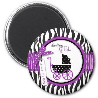 Fiesta de bienvenida al bebé del estampado de zebr imanes de nevera