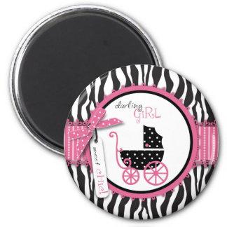 Fiesta de bienvenida al bebé del estampado de zebr imán redondo 5 cm