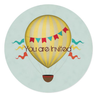 Fiesta de bienvenida al bebé del globo del aire invitación personalizada