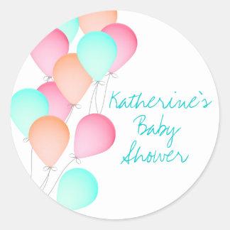 Fiesta de bienvenida al bebé del globo pegatina redonda