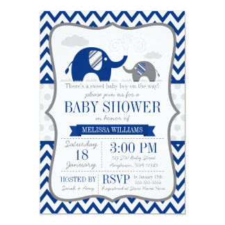 """Fiesta de bienvenida al bebé del gris de azules invitación 5"""" x 7"""""""