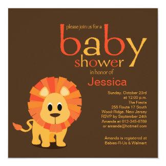 Fiesta de bienvenida al bebé del león invitación 13,3 cm x 13,3cm