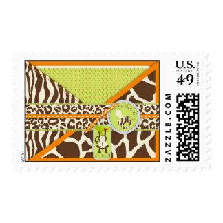 Fiesta de bienvenida al bebé del mono del safari y sello