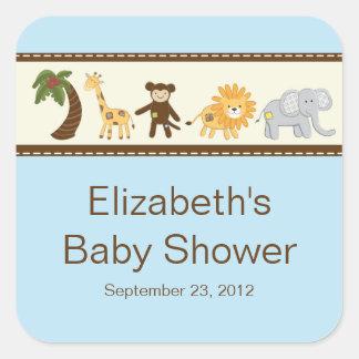 Fiesta de bienvenida al bebé del muchacho azul de  colcomania cuadrada