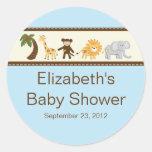 Fiesta de bienvenida al bebé del muchacho azul de etiquetas redondas