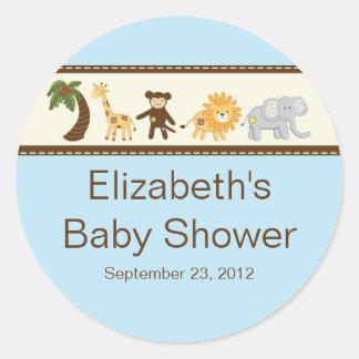 Fiesta de bienvenida al bebé del muchacho azul de pegatina redonda