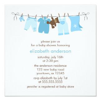 Fiesta de bienvenida al bebé del muchacho de la invitación 13,3 cm x 13,3cm