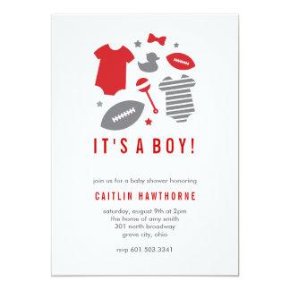 Fiesta de bienvenida al bebé del muchacho del invitación 12,7 x 17,8 cm