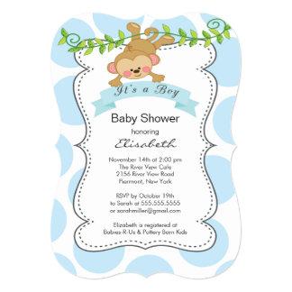 Fiesta de bienvenida al bebé del muchacho lindo de invitación 12,7 x 17,8 cm