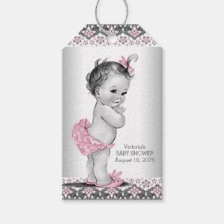 Fiesta de bienvenida al bebé del negro del rosa etiquetas para regalos