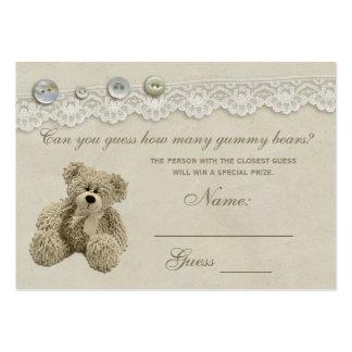 Fiesta de bienvenida al bebé del oso de peluche tarjetas de visita grandes