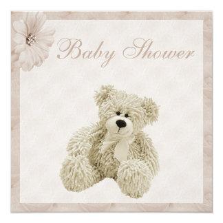 Fiesta de bienvenida al bebé del oso de peluche y invitación 13,3 cm x 13,3cm