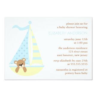 """Fiesta de bienvenida al bebé del oso del velero invitación 5"""" x 7"""""""