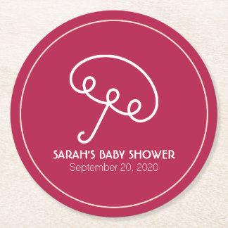 Fiesta de bienvenida al bebé del paraguas posavasos personalizable redondo