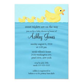 Fiesta de bienvenida al bebé del pato de los tríos invitación 12,7 x 17,8 cm