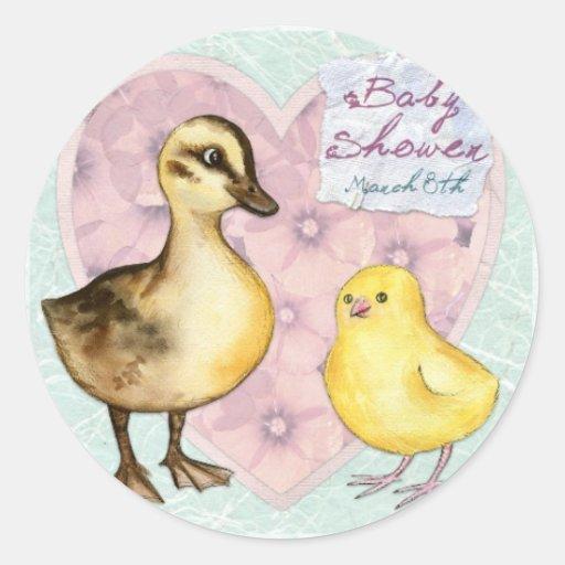 Fiesta de bienvenida al bebé del pato y del etiquetas redondas