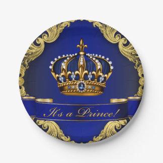 Fiesta de bienvenida al bebé del Príncipe heredero Plato De Papel De 7 Pulgadas