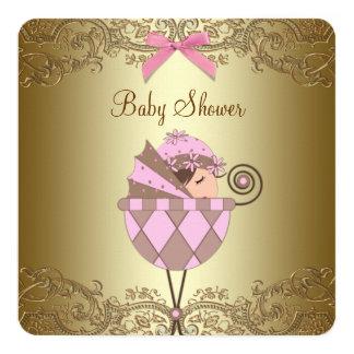 """Fiesta de bienvenida al bebé del rosa y del chica invitación 5.25"""" x 5.25"""""""