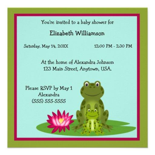 Fiesta de bienvenida al bebé del tema de la rana d invitacion personalizada