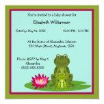 Fiesta de bienvenida al bebé del tema de la rana invitación 13,3 cm x 13,3cm