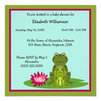 Fiesta de bienvenida al bebé del tema de la rana invitacion personalizada