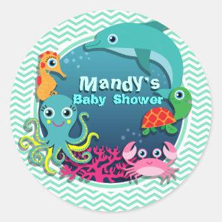 Fiesta de bienvenida al bebé del tema del océano; pegatina redonda