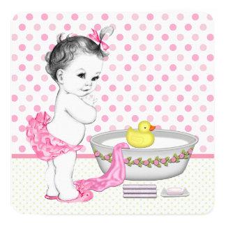 """Fiesta de bienvenida al bebé del tiempo del baño invitación 5.25"""" x 5.25"""""""