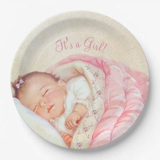 Fiesta de bienvenida al bebé del vintage de los platos de papel