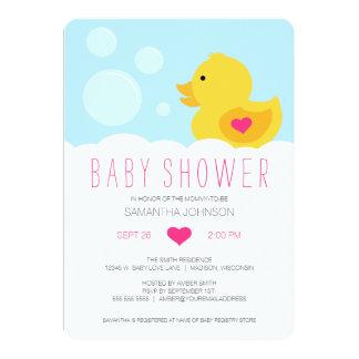 """Fiesta de bienvenida al bebé Ducky de goma del Invitación 5"""" X 7"""""""