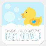 Fiesta de bienvenida al bebé Ducky de goma del Calcomanía Cuadradas Personalizadas
