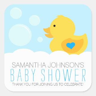Fiesta de bienvenida al bebé Ducky de goma del Pegatina Cuadrada