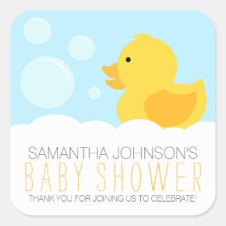 Fiesta de bienvenida al bebé Ducky de goma Pegatina Cuadrada